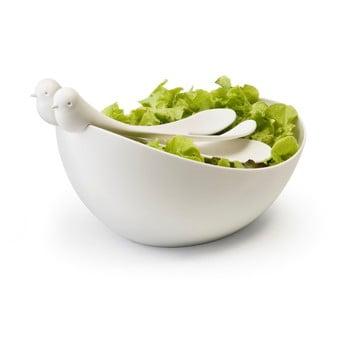 Bol și tacâmuri pentru salată Qualy&CO Sparrow Salad Bowl, alb imagine