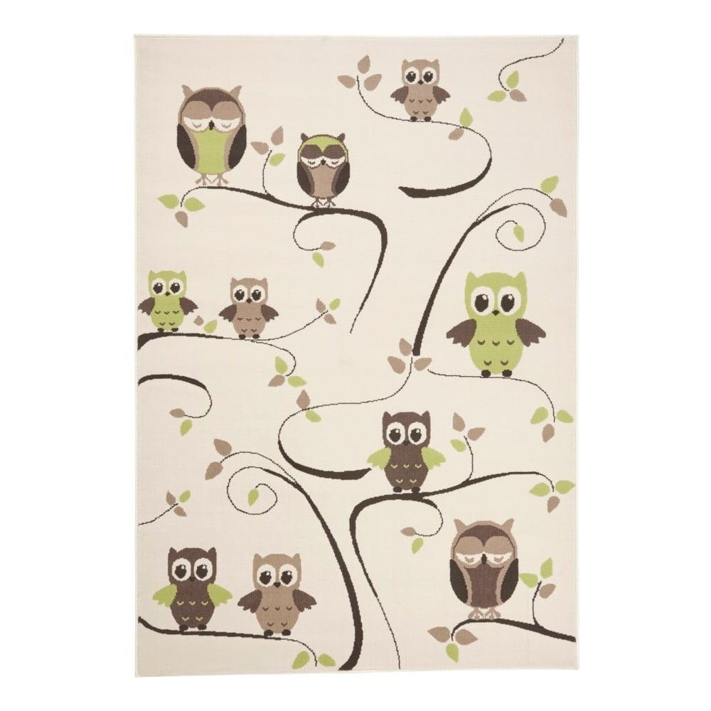 Dětský zelenohnědý koberec Zala Living Owl, 140 x 200 cm