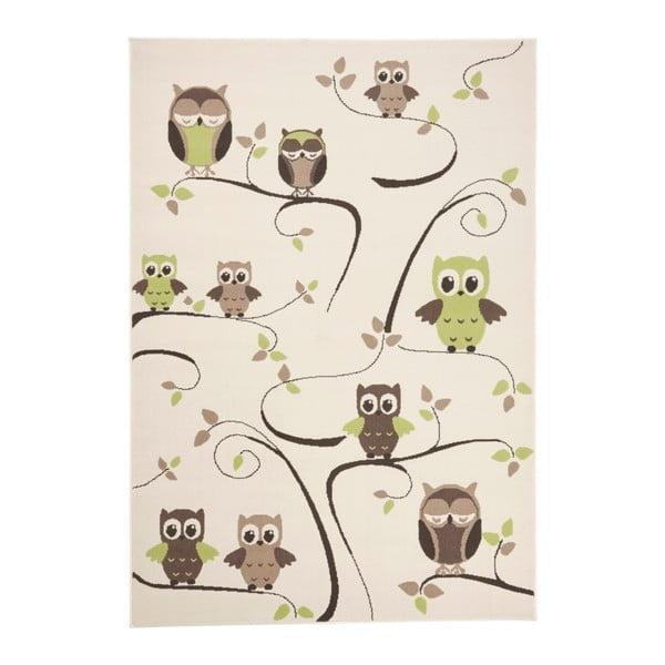 Detský zeleno-hnedý koberec Zala Living Owl, 140×200cm