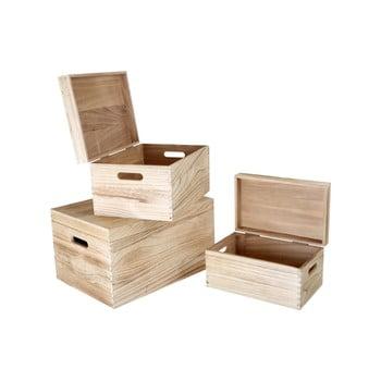 Set 3 cufere din lemn Legler Trunk imagine