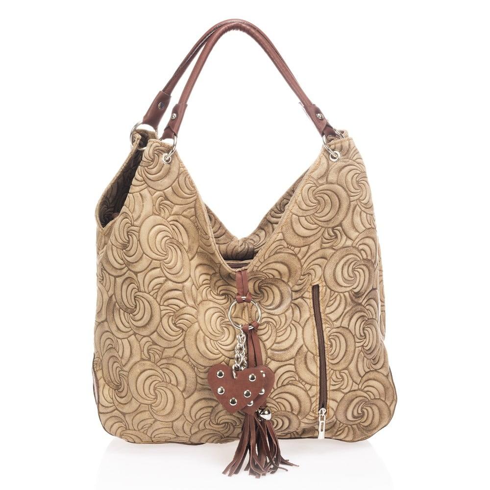 Béžová kožená kabelka Giorgio Costa Sindy