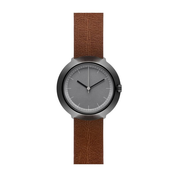 Hodinky Grey Fuji Brown Leather, 43 mm