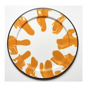 Tavă emailată Kapka Little Color, Ø32cm, portocaliu - alb