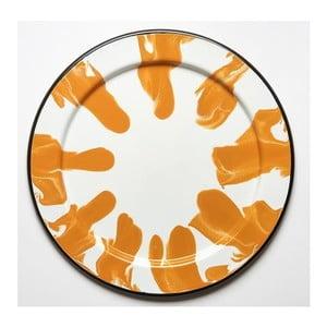 Oranžovobílý smaltovaný tác Kapka Little Color, Ø32cm