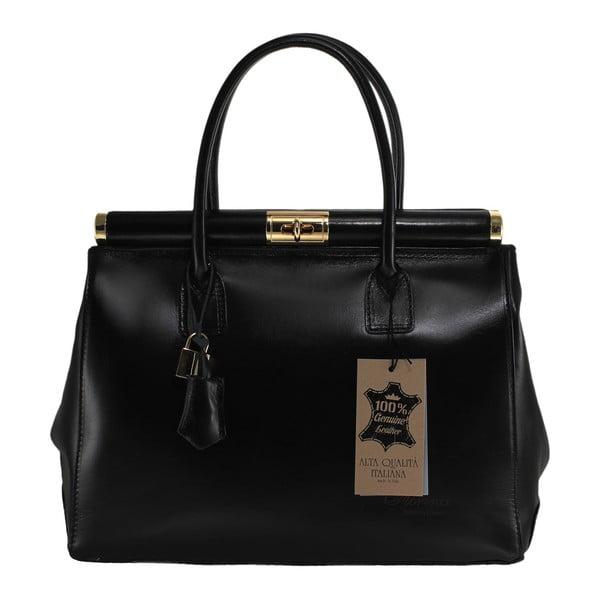 Černá kožená kabelka Chicca Borse Tammy