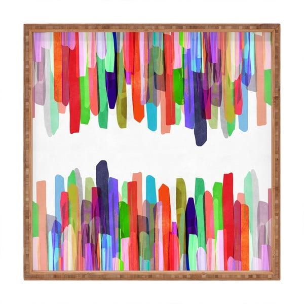Tavă decorativă din lemn Colours, 40x40cm