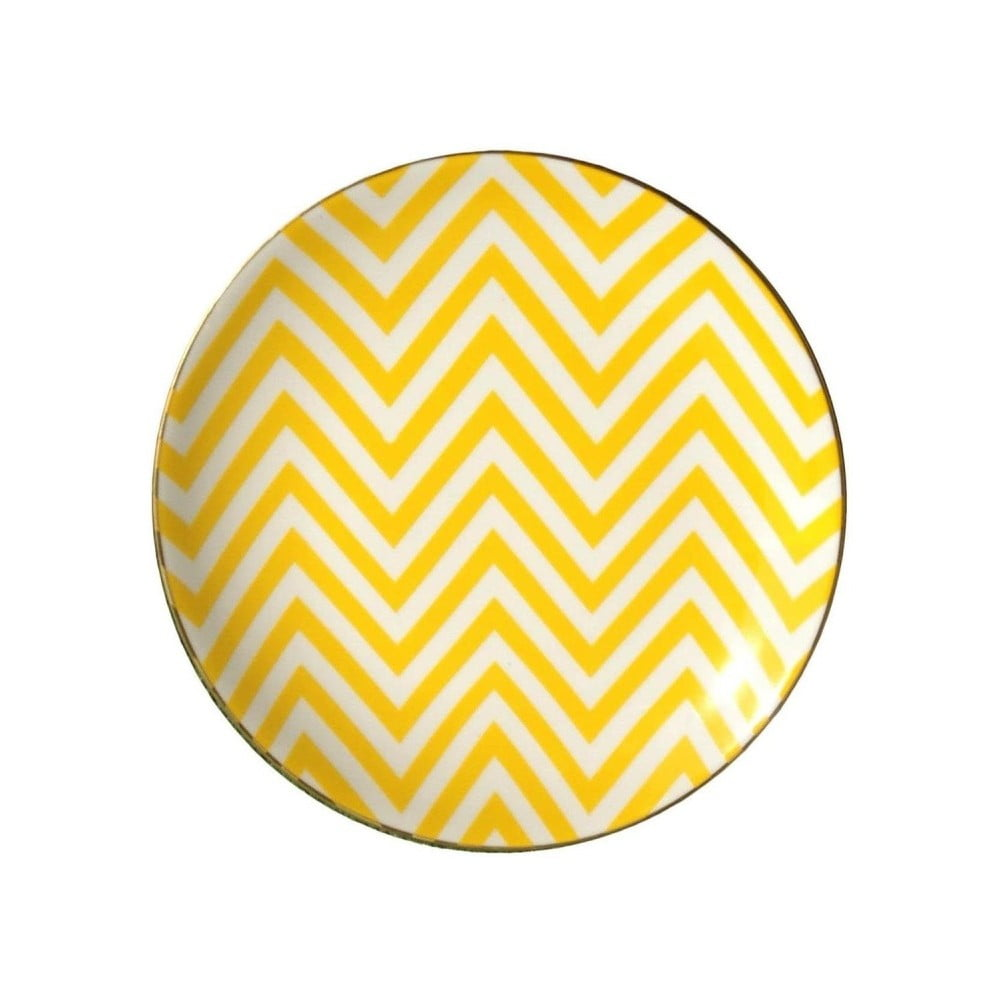 Žlutobílý porcelánový talíř Vivas Zigzag, Ø23cm
