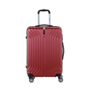 Tmavě červený cestovní kufr na kolečkách s kódovým zámkem SINEQUANONE Elisabeth, 71 l