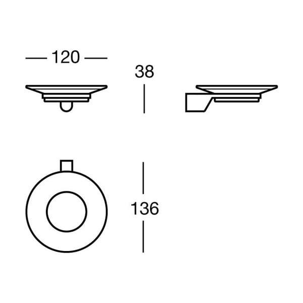 Držák na mýdlo Chromo Soap, 12x3,8x13,6 cm