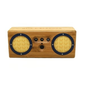 Přenosný bambusový speaker Dark Navy & Yellow Bongo