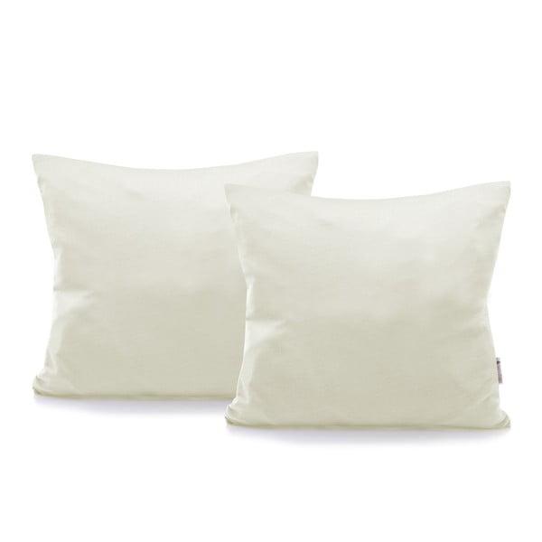 Sada 2 sivobéžových bavlnených obliečok na vankúše DecoKing Amber Ecru, 40 × 40 cm
