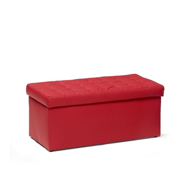 Taburet s úložným prostorem Silvia 90 cm, červený