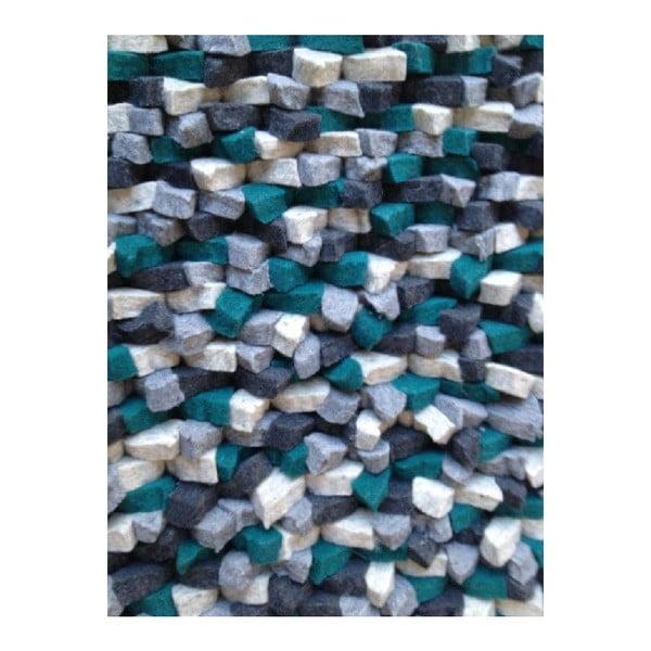 Béžový ručně tkaný vlněný koberec LinieDesign Crush, 170x240cm