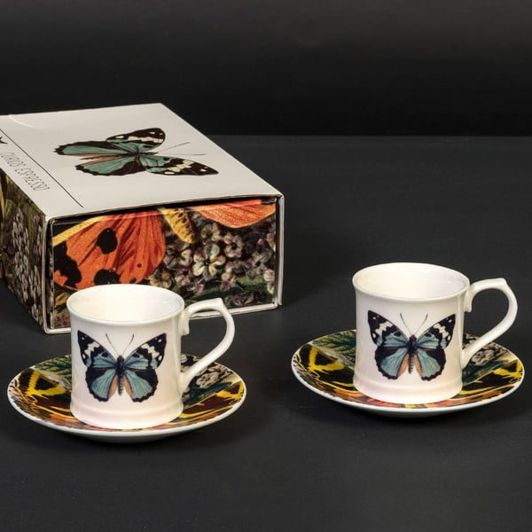 Sada 2 šálků s podšálky Curious Butterfly