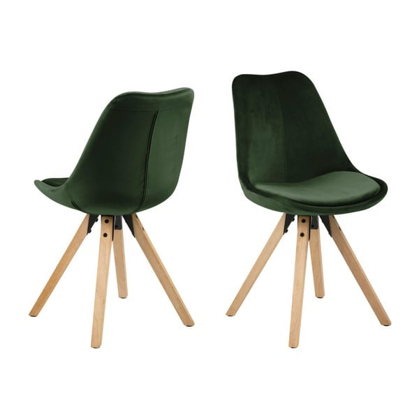 Zestaw 2ciemnozielonych krzeseł Actona Damia Velvet