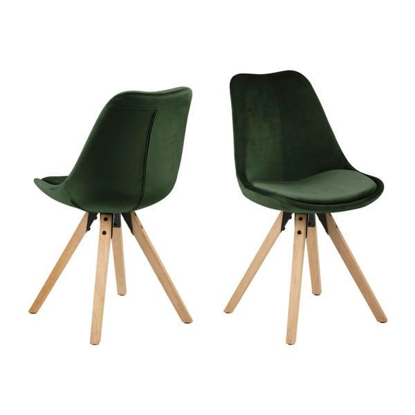 Sada 2 khaki zelených jídelních židlí Actona Damia Velvet