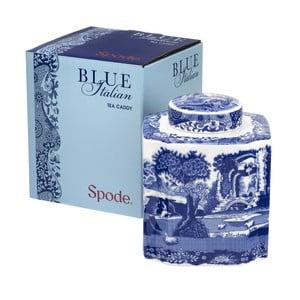 Bílomodrá porcelánová dóza na čaj Spode Blue Italian