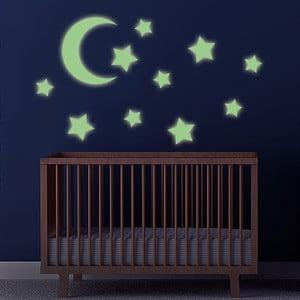 Svítící samolepka Měsíc a hvězdy, 60x30 cm