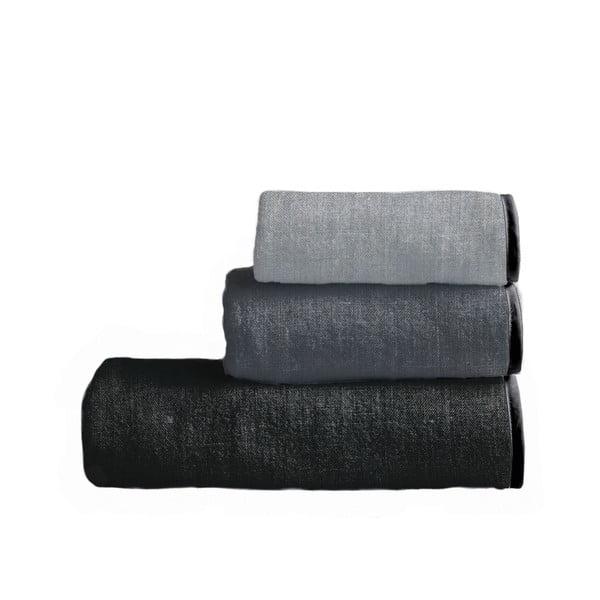 Sada 3 ručníků Linen Couture Toalla Grey Gradient