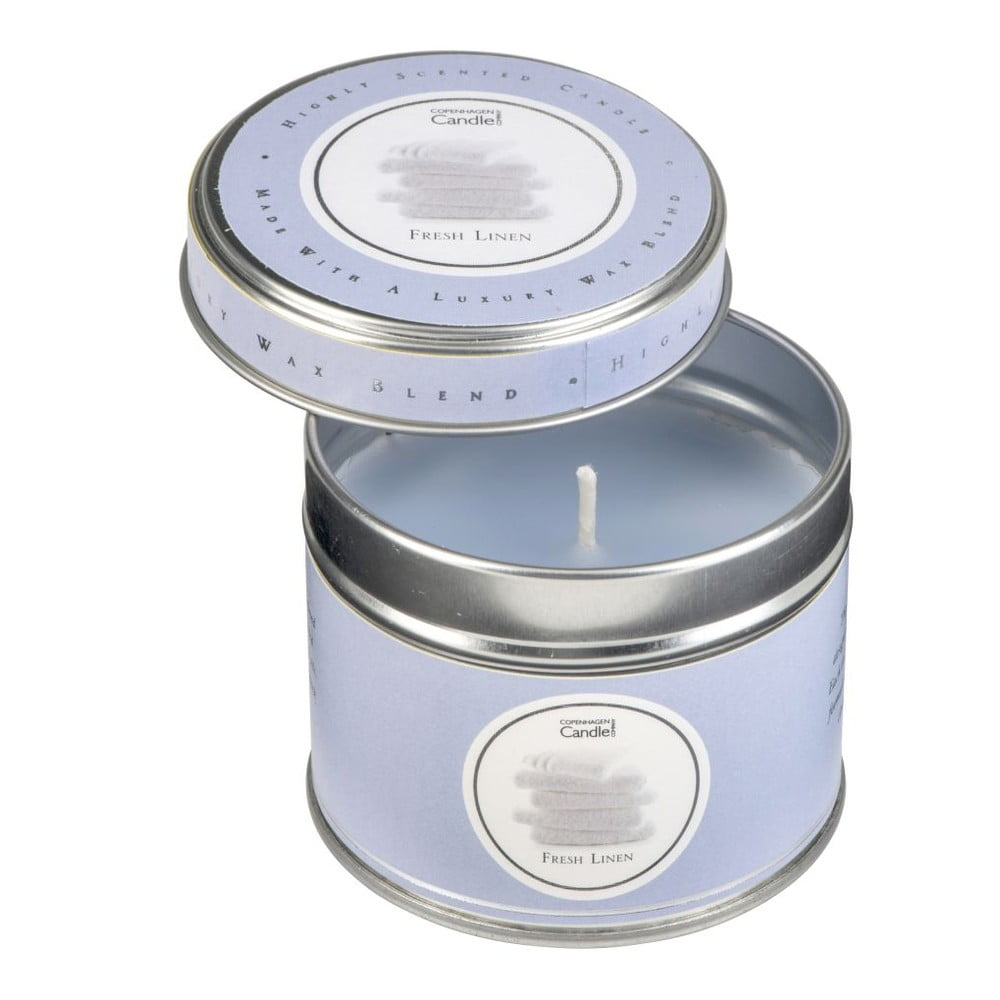 Aroma svíčka v plechovce Copenhagen Candles Fresh Linen, doba hoření 32 hodin