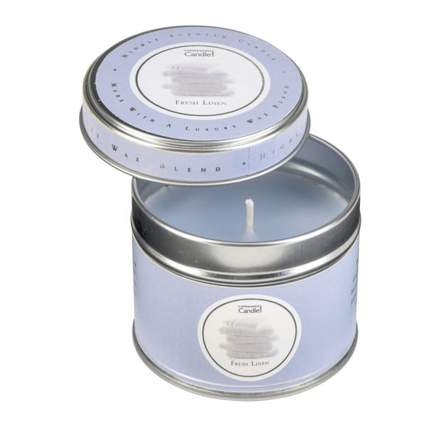 Aroma svíčka v plechovce s vůní čerstvě vypraného prádla Copenhagen Candles, doba hoření 32 hodin