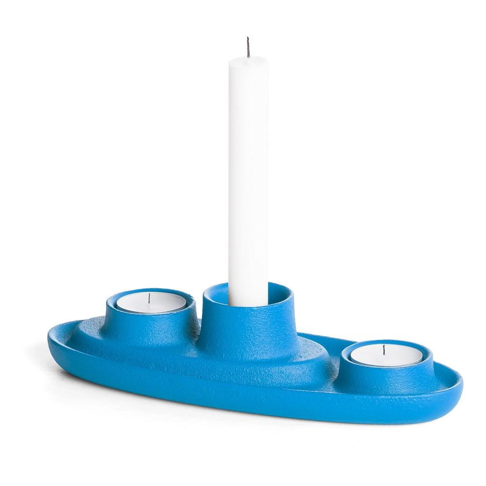 Modrý svícen EMKO Aye Aye Three Candles