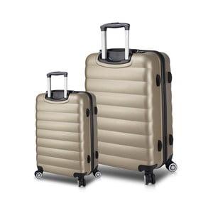 Sada 2 cestovních kufrů na kolečkách s USB porty ve zlaté barvě My Valice RESSNO Cabin & Large