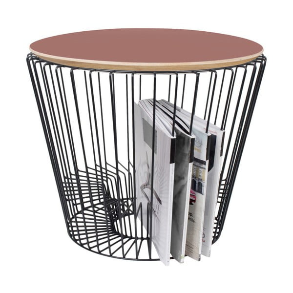 Stolik z lakierowanego metalu z różowym blatem HARTÔ, Ø 50 cm