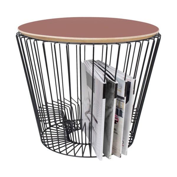 Odkladací stolík z lakovaného kovu s ružovou doskou HARTÔ, Ø50 cm