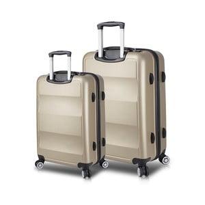 Sada 2 cestovních kufrů na kolečkách s USB porty ve zlaté barvě My Valice LASSO Large & Medium