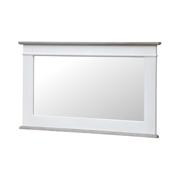 Bílé nástěnné zrcadlo z topolového dřeva s přírodními detaily Livin Hill Rimini,100x57cm