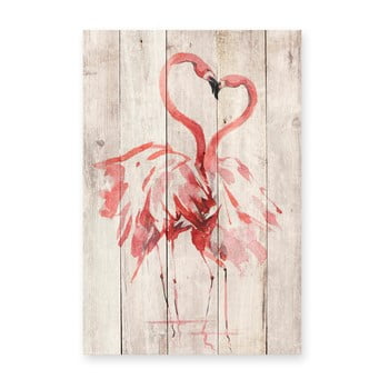 Decorațiune din lemn de pin pentru perete Madre Selva Love Flamingo, 60 x 40 cm imagine