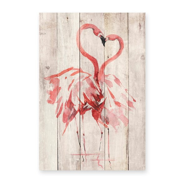 Dekoracja ścienna z drewna sosnowego Madre Selva Love Flamingo, 60x40 cm