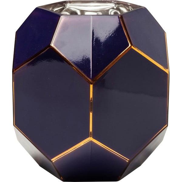 Tmavě modrá skleněná váza Kare Design, výška 22cm