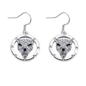 Náušnice s bílými krystaly Swarovski Elements Crystals Panthers