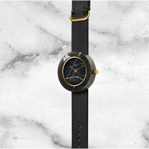 Černé mramorové hodinky s černým řemínkem Analog Watch Co. Marble