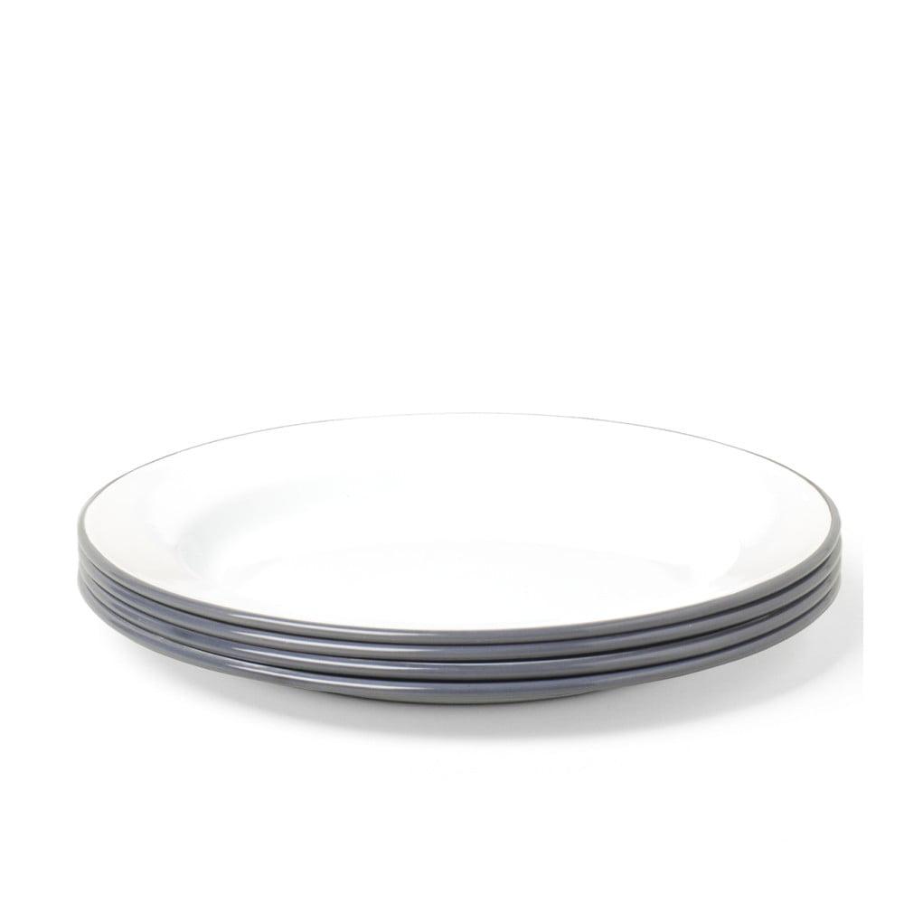 Sada 4 šedo-bílých smaltovaných talířů Falcon Enamelware