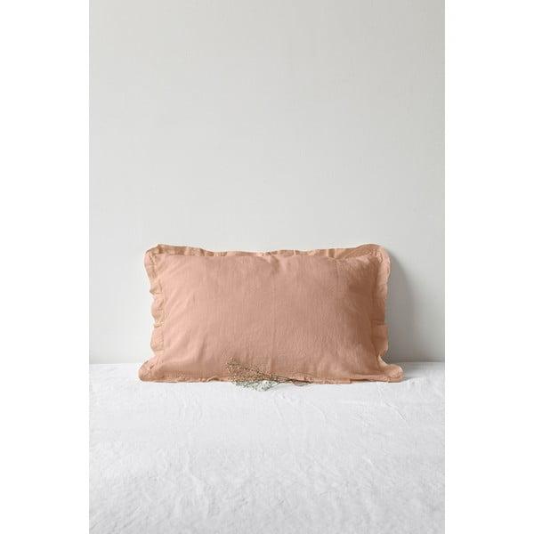 Brązowoterakotowa lniana poszewka na poduszkę z falbanką Linen Tales, 50x60 cm
