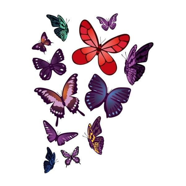 Sada nástěnných samolepek Butterflies Plum