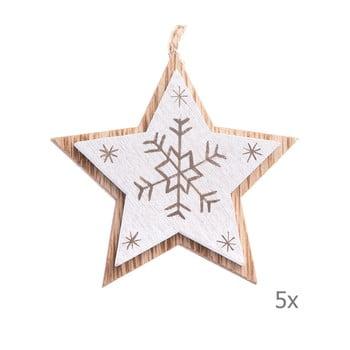 Set 5 decorațiuni suspendate din lemn în formă de stea Dakls, lungime 7,5 cm, alb imagine