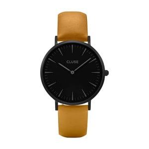 Dámské hodinky s hnědým koženým řemínkem a černým ciferníkem Cluse La Bohéme