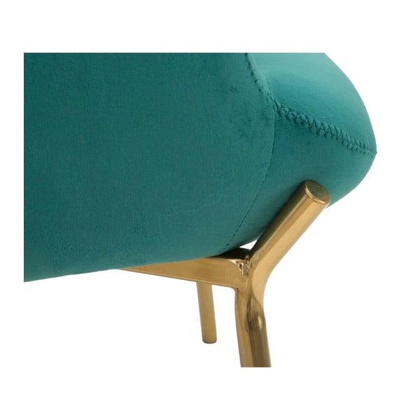 Fotoliu cu picioare aurii din fier Mauro Ferretti Onnimus, verde smarald