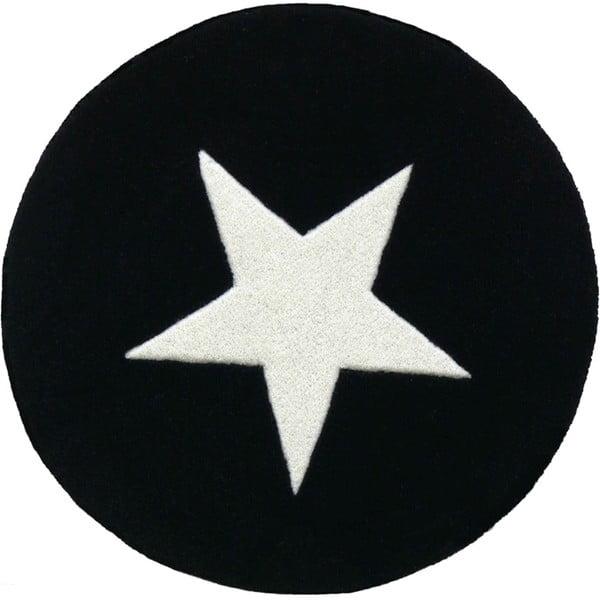 Vlněný koberec Star Black, 130 cm