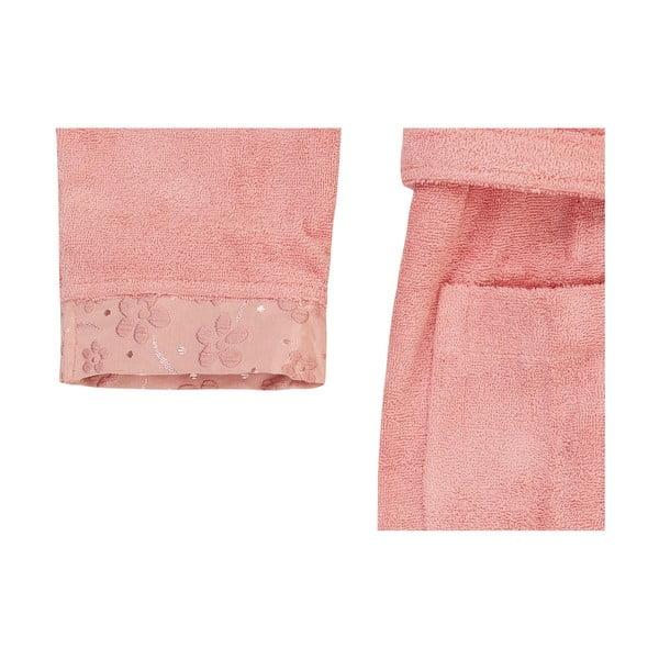 Růžová sada županu a ručníku London