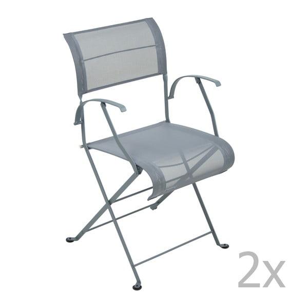 Sada 2 tmavě šedých skládacích židlí s područkami Fermob Dune