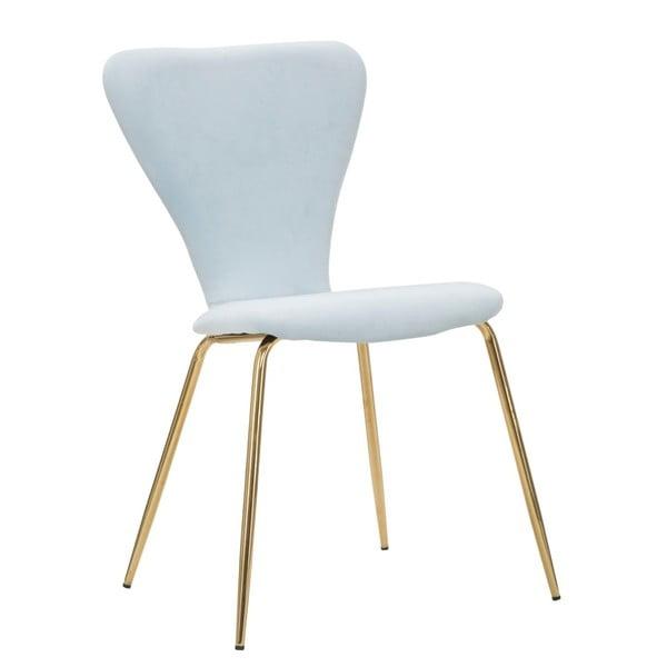 Světle modrá židle železnou konstrukcí Mauro Ferretti Sedia