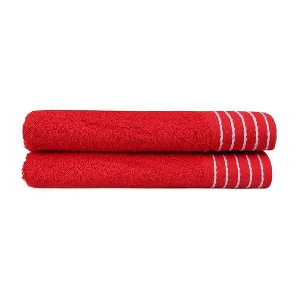 Sada dvou červených osušek Beverly Hills Polo Club Horses, 140x 70cm