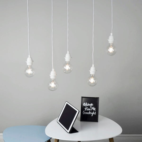 Bílé závěsné svítidlo s 5 kabely Bulb Attack Uno Primary