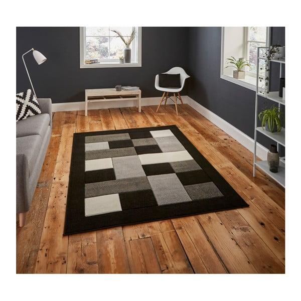 Covor Think Rugs Matrix, 80 x 150 cm, gri - negru