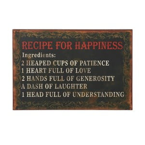 Cedule Recipe for happiness, 36x24 cm